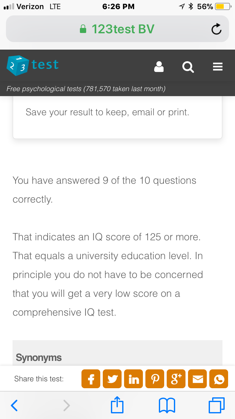 Just took a free Culture-Fair IQ test and according to my score
